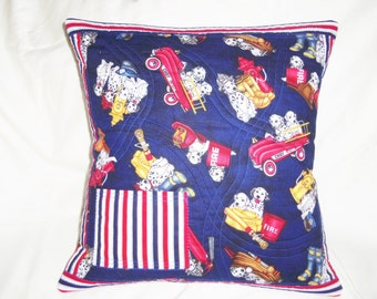 Fire Truck Pillow, Dalmatian Pillow, Pocket Sham, Child Pillow, Quilted Pillow Cover, Sham, Throw Pillow, Accent Pillow, Sewnsewsister