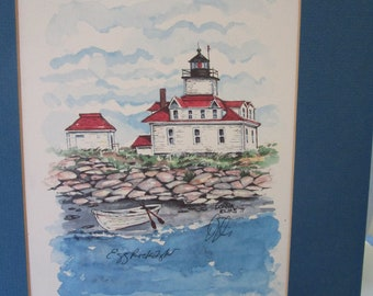 Egg Rock Light Bar Harbor Me Water Color Painting