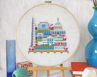 Pretty Little Washington DC - Satsuma Street Modern Cross Stitch Pattern PDF - Instant download