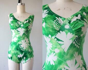 vintage 1960s bathing suit / 60s green floral batik one piece swim suit / 1970s swimsuit / lime green boho swim wear / size small  medium