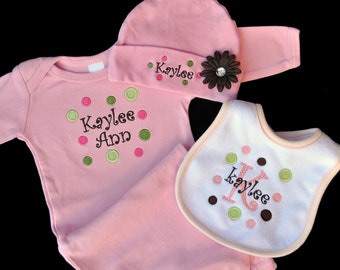 Matching Embroidered Polka Dot Baby Gown Hat and Bib Set with Flower