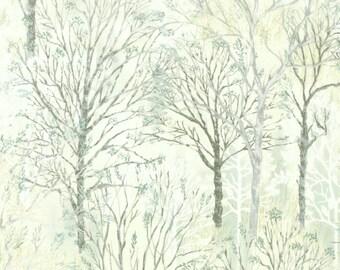 Light Grey Tree Fabric-Centenary 23-Lecien-Tree Silhouette Fabric-Tree Landscape Fabric-Tree Quilt Fabric-Tree Quilting Fabric-Winter Fabric