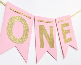 Pink and Gold Year Banner, High Chair Banner, Birthday Banner, Photo Prop, First Birthday