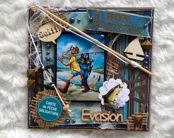 Carte anniversaire homme, fait-main, 3D, shabby, vintage, thème pêcheur, format chevalet