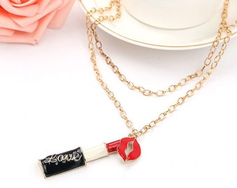 Sweet Charming Lipstick Mouth pendantl Necklaces Jewelry Long Neck For Christmas Gift gold Metal Chain Necklace &Pendant woman