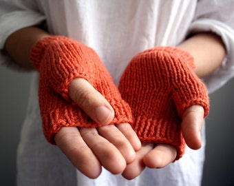 Ready to Ship -Wool Fingerless Gloves in Soft Orange - Winter Accessories - Womens, Teens