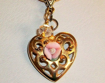 Vintage Gold tone Filigree Heart Pendent with Porcelain Rose and a Swarovski Crystal Drop   Free Shipping in USA
