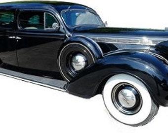 1937 Black Buick Imperial side view Portrait Art Photo Unframed print
