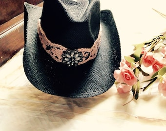 Pink and black cowboy hat, cowgirl hat, western cowgirl hat, lace sun hat