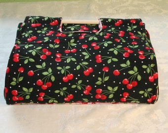 Insulated Casserole Carrier - Cherries on Black, Reverse Color Scheme Available, Personalization Available