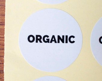 34mm Organic sticker white glossy paper black ink 60pcs