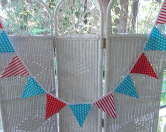 Fabric Banner- Aqua polka dots, aqua and red stripes