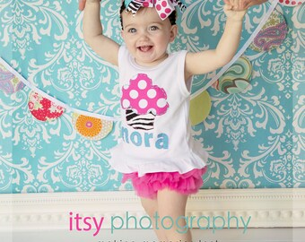 Ruffled Hem Personalized Birthday Cupcake Tank with Hot Pink Ruffled Chiffon Diaper Cover/Bloomer and headband/bow