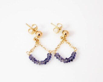 Blue iolite earrings on 14k gold filled chain and posts.    ~1 X 5/8 inches.