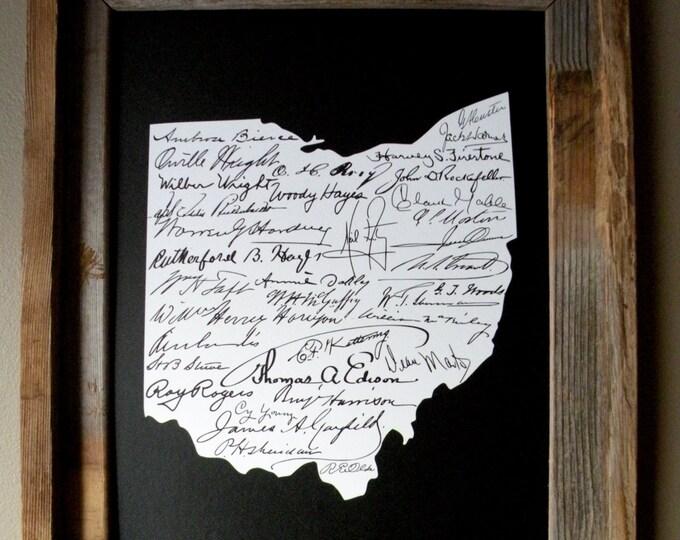 Signatures of Ohio History Map Print (Black) - Unframed