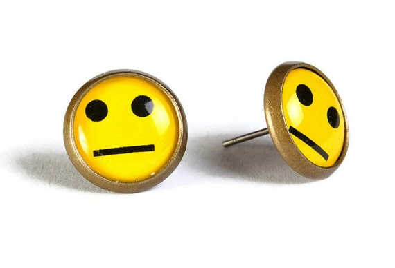 Yellow smile smiley hypoallergenic stud earrings (504)