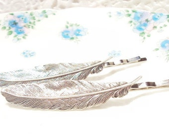 Sterling Silver Feather Hair Pins - Bobby Pin - Woodland Collection - Whimsical - Bridal