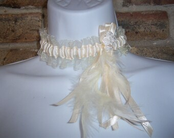 Bridal ivory satin and organza flowers