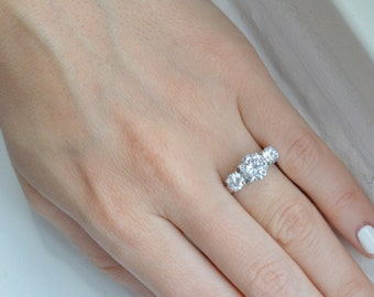 CLEARANCE SALE: Three Stone Ring - Engagement Ring - Cubic Zirconia Ring - Promise Ring - Silver Estate Ring - Valentine's Day