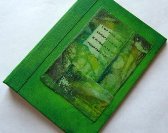 Refillable Journal Handmade Lime Green Rice Paper Collage Rune 7x5 Original