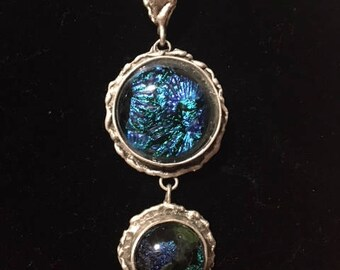 Blue and Green Dichroic Fused Glass Pendant Necklace