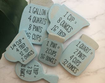 Kitchen Magnet, Kitchen Cheat Sheet, Measure cup, Measurement, Kitchen Decor, Mason Jar, Measure Magnet, Wood Magnet, Fridge Magnet