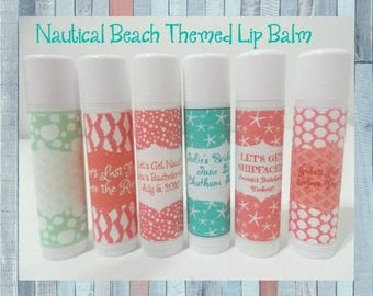 Nautical Bachelorette Lip Balm -Nautical Bridal Shower Favors -Beach Themed Bachelorette-Free Personalization-Individual-You Select Quantity