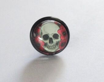 Skull skull hawaii flower cabochon earrings