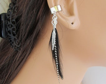 Boho Ear Cuff Wrap Black and Grizzly Feathers Cartilage Non Pierced