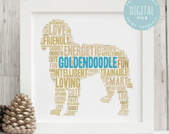 Goldendoodle Print Personalised For Dog Lovers   Printable Personalized Word Art   Bespoke Gift   Digital File   Print Yourself