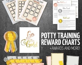 Potty Training Reward Charts - Printable Toilet Training Charts for Toddlers and Preschool, Plus Bonus Awards!