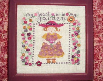 Red Hat Flower Gardener Cross Stitch PDF Pattern I Love My Garden