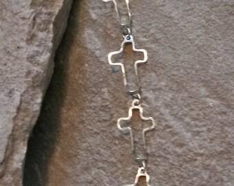 Sterling Silver Bracelet. Silver Bracelet. Cross Bracelet. Sterling Cross Bracelet. Cross link bracelet.