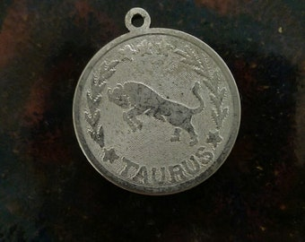 Vintage sterling silver taurus the bull zodiac astrology charm necklace pendant or key chain charm