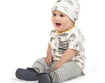 Baby Boy Outfit, Baby Boy Short Sleeve Outfit, Baby Boy Leggings, Newborn Boy Outfit, Fish, Ocean, Infant Boy Summer, TesaBabe