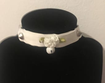 White Spiked Petplay Collar