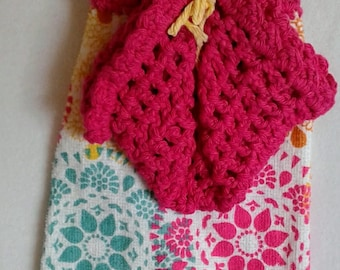 Hanging Crochet Hand Towel and Dishcloth Set