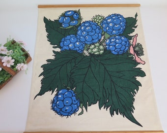 Rare Vintage Swedish Large Handprinted Wall Decor, Blue Berries, Botanical Decor Textile Wall Hanging Mid Century Modern # 2-06