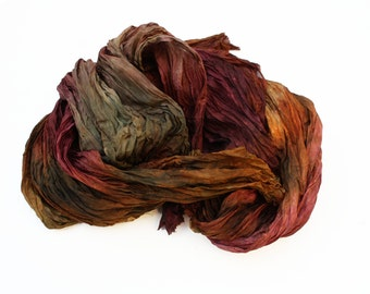 burgundy silk scarf - Byzantine -  brown, chestnut, burgundy, cherry silk scarf.