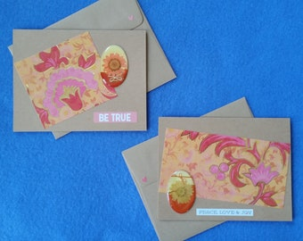 Peace, Love and Joy and Be true - Two Handmade Greeting Cards with Pressed Flowers and Gold Accents - Recycled Kraft Paper Cards