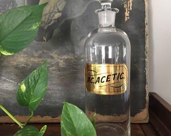 Antique 1860's Apothecary Bottle: AC. ACETIC.