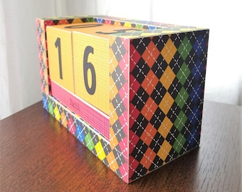 Perpetual Wooden Block Calendar - Elementary School Argyle - Classroom Primary Plaid - Teacher Gifts - Gifts for Grad