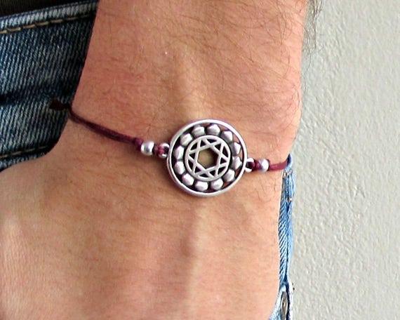 Heart Chakra, Men's Bracelet, Silver Heart Chakra Charm, Cord Bracelet For Men, Gift for him, Bestfriend Bracelet, mens jewelry, Adjustable