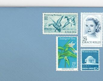 Posts (5) 2 oz wedding invitations - Grace Kelly Blue elegant unused vintage postage stamp sets (2 ounce 71 cent rate)