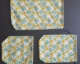 Set of 3 bags fabric for the bulk - foliage