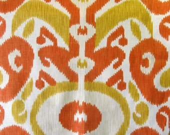 IKAT in fresh stylish colors of tangerine/golden rod linen/cotton fabric