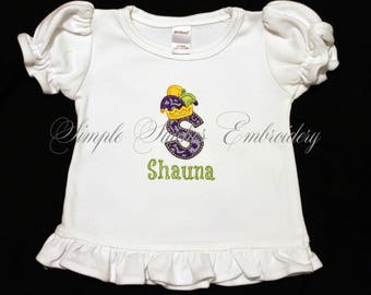 Personalized Mardi Gras Jester Alphabet Shirt or Bodysuit