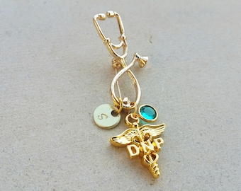 DNP Doctorate of Nursing Practice Gold Tone Nurse Practioner Handstamped Personalized Crystal Birthstone Initial Pin Brooch