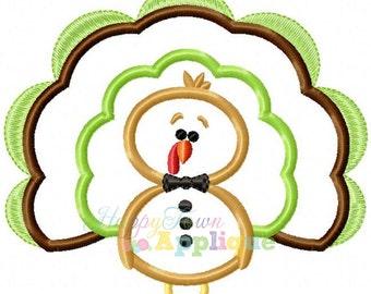 Turkey3 Boy With Bow Tie Machine Embroidery Applique Design