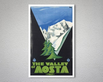 The Valley of Aosta, Italy Vintage Travel Poster - Poster Print, Sticker or Canvas Print / Gift Idea
